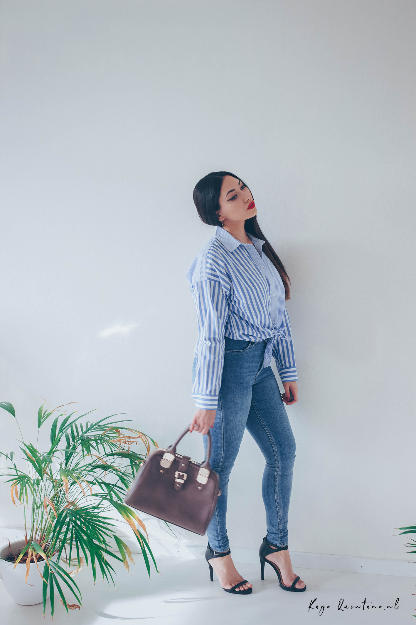 BLUE STRIPED BLOUSE OUTFIT