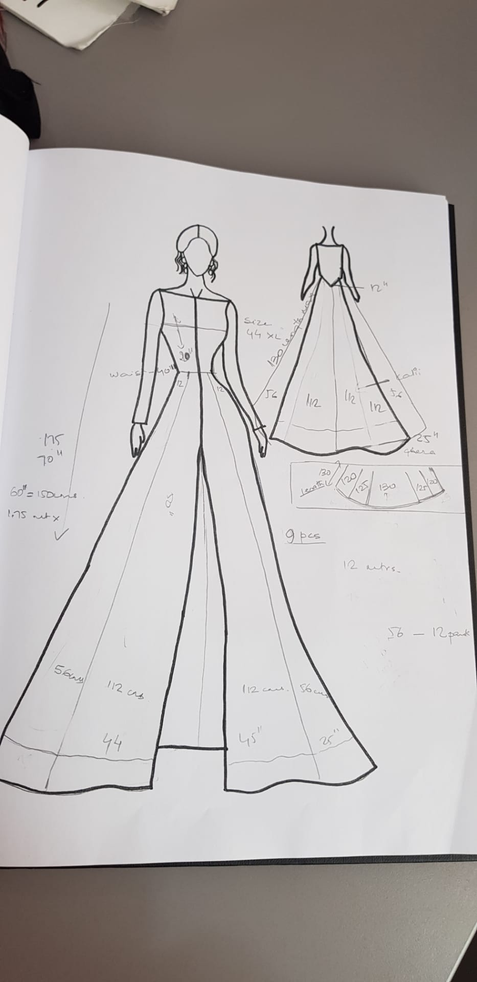 Sketch of Wedding dress for brides of Morocco